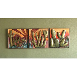 Handmade Southwestern Saguaro Cactus Agave Desert Wall Art