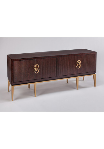 Dark Cherry Wood Unique Gold Handles Credenza Cabinet