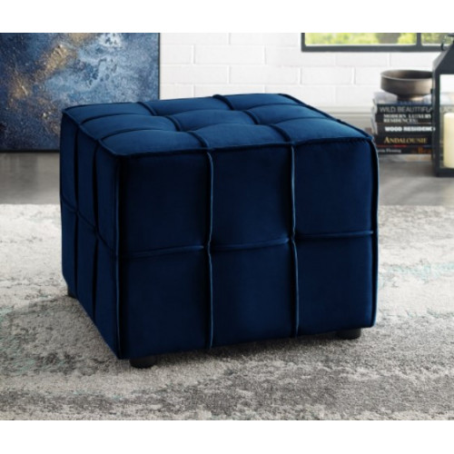 Navy Blue Velvet Tufted Piping Square Cube Footstool Ottoman
