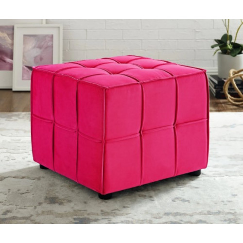 Fuchsia Hot Pink Velvet Tufted Piping Square Cube Footstool Ottoman
