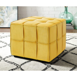 Yellow Velvet Tufted Piping Trim Square Cube Footstool Ottoman