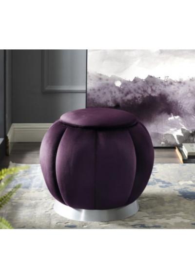 Purple Velvet Channel Tufted Round Footstool Ottoman