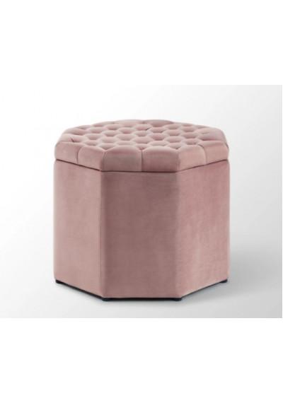 Dusty Pink Velvet Octagon Shape Storage Footstool Ottoman