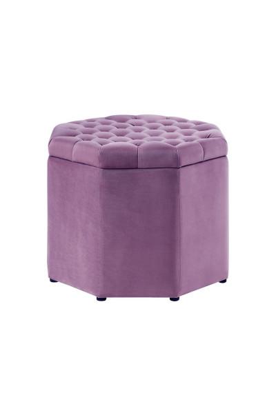 Violet Purple Velvet Octagon Shape Storage Footstool Ottoman