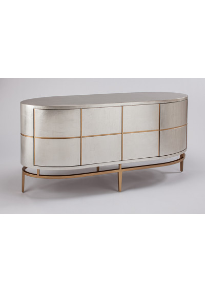 Oval Silverleaf Gold Detailing Rounded Corners Sideboard Cabinet