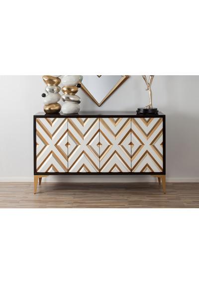 Golden Diamond Design Front Dark Body & Gold Legs Sideboard Cabinet