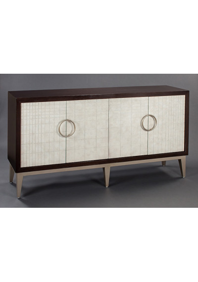 Dark Brown Body Off White Tile Design Doors Silver Accents Sideboard Cabinet