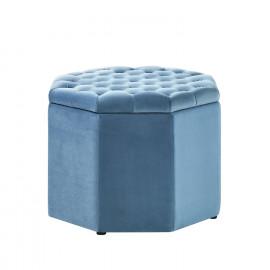 Light Blue Velvet Octagon Shape Storage Footstool Ottoman