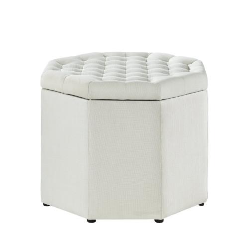 Ivory Cream Fabric Octagon Shape Storage Footstool Ottoman