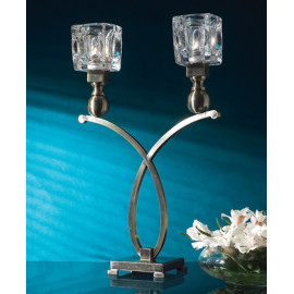 Double Candle Holder Silver Metal & Glass