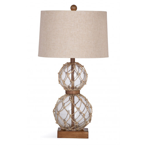 Clear Glass Ball & Rope Nautical Table Lamp