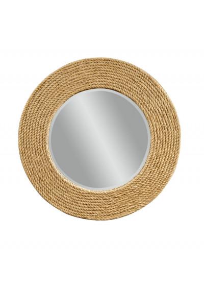 Nautical Round Rope Frame Beveled Wall Mirror