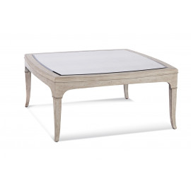 Distressed Light Wood Antiqued Mirror Square Coffee Table