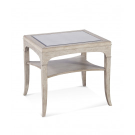 Distressed Light Wood Antiqued Mirror Top Accent Side Table