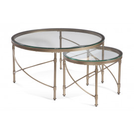 Round Antique Gold Nesting Cocktail Tables Glass Top