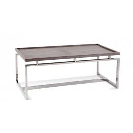 Grey Oak Tray Top Coffee Table Geometric Chrome Base