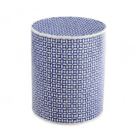 Natural Bone & Faded Blue Inlay Mosaic Design Drum Table