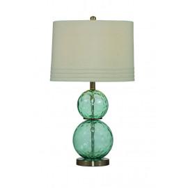 Dimpled Aqua Glass Balls Linen Shade Table Lamp