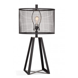 Industrial Farmhouse Black Metal Cut Out Shade Table Lamp