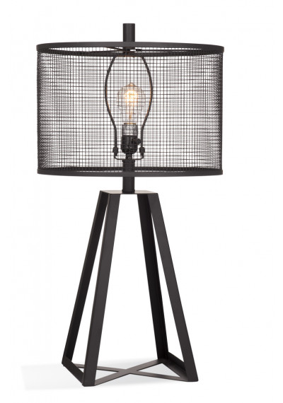 Industrial Farmhouse Black Metal Cut Out Shade Table Lamp