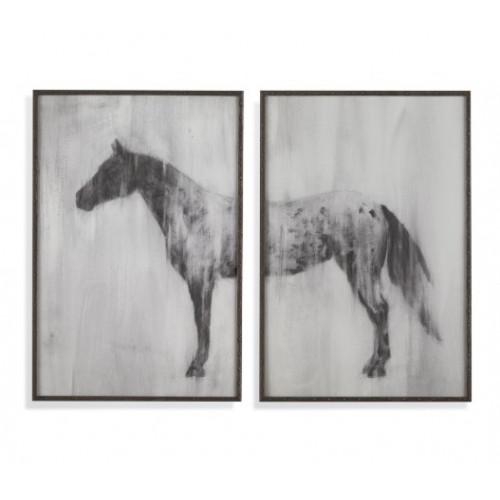 Grey Horse 2 Piece Wood Frame Wall Art