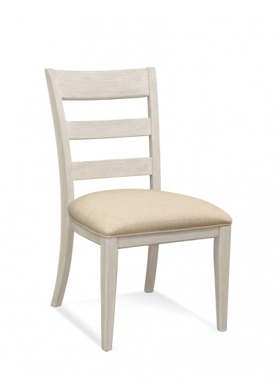 Ladder Back Rustic Weathered White Accent Dining Chair