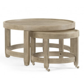 Round Wood Nesting Cocktail Tables Grey Finish