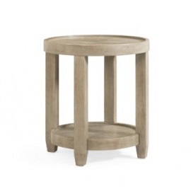 Round Wood Side Table Grey Finish Removable Tray Top