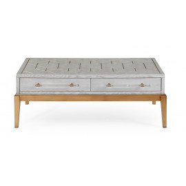 White Wood Gold Base Rectangle Cocktail Table