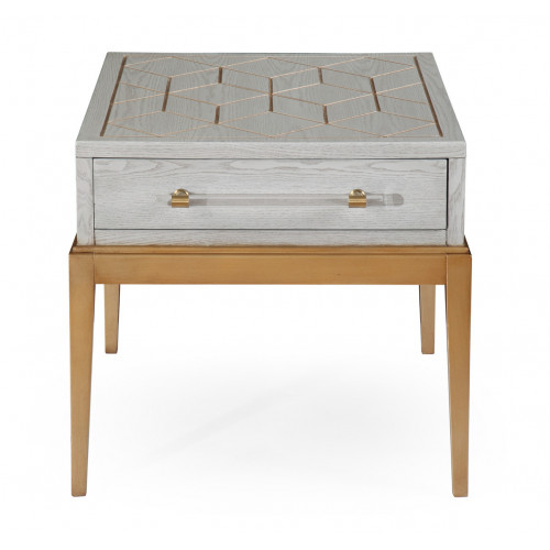 White Wood Gold Base End Table