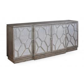 Rustic Contemporary Sideboard Cabinet Antiqued Mirror Doors