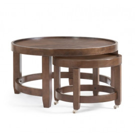 Round Wood Nesting Cocktail Tables Brown Finish