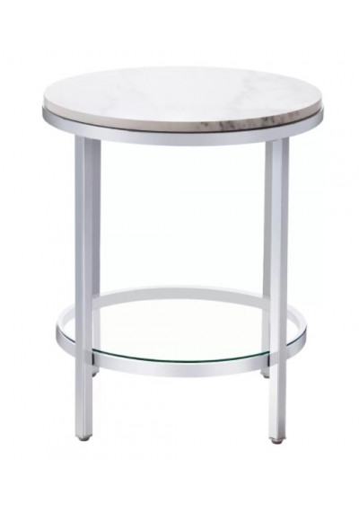 Round White Marble Silver Base Side Table
