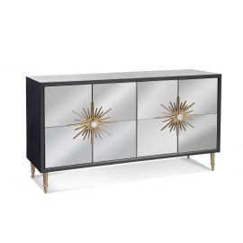 Grey Mirrored Sideboard Cabinet Gold Sunburst Door Handles