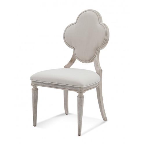 Antique White Finish Clover Quatrefoil Back Dining Chair