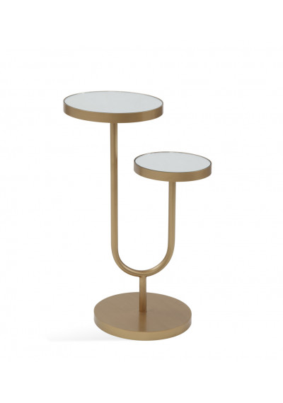Gold Base White Top High Low Accent Side Table