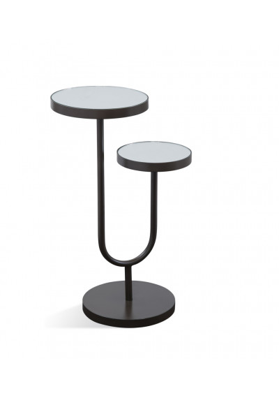 Bronze Base White Top High Low Accent Side Table