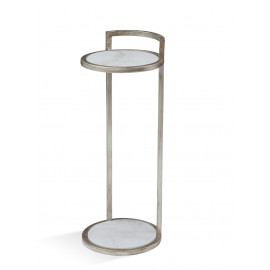 Slender Silver Finish Martini Accent Side Table
