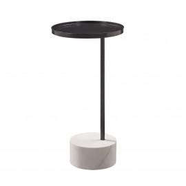 Dark Bronze Round Metal Top White Marble Base Martini Accent Side Table