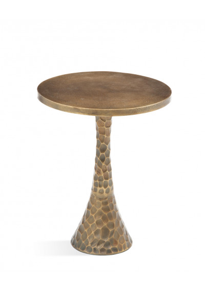 Brass Hammered Round Base Martini Accent Side Table