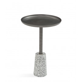 Dark Silver Pewter Top Terrazzo Base Martini Accent Side Table