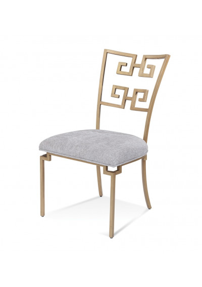 Gold Greek Key Geometric Back Armless Dining Chair