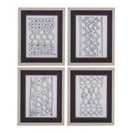 Black & White Tribal Design Framed Under Glass 4pc Wall Art