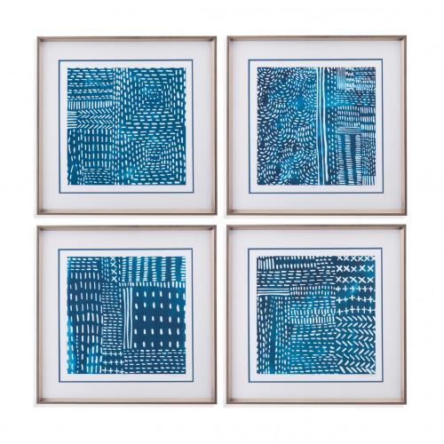 Blue & White Tribal Stitch Design Framed Under Glass 4pc Wall Art