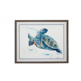 Sea Turtle Framed Under Glass Wall Art