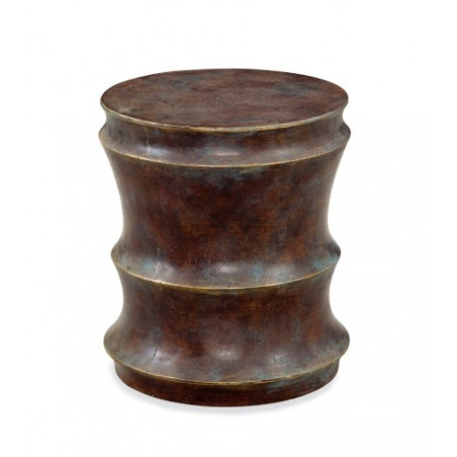 Rustic Curved Resin Accent Side Table