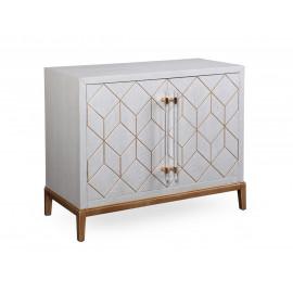 White Wood Gold Base Bar Cabinet