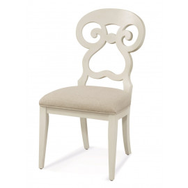 Distressed Cream White Finish Scrolled Back Dining Chair