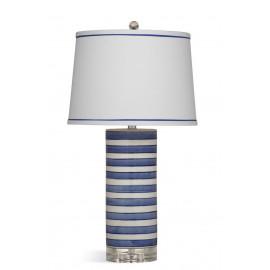 Blue & White Stripe Ceramic Cylinder Table Lamp