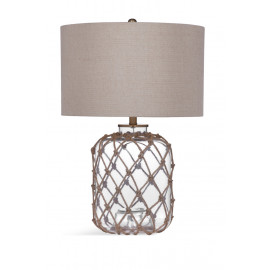 Clear Glass Jar & Rope Nautical Table Lamp